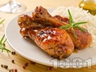 Вкусни печени пилешки бутчета глазирани с мед и соев сос на грил фурна